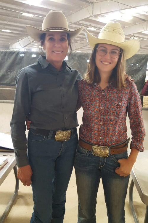 Alison Brantley & Delaney Helgans received their all-around buckles from the Slidin' Daze Summer Spectacular in July