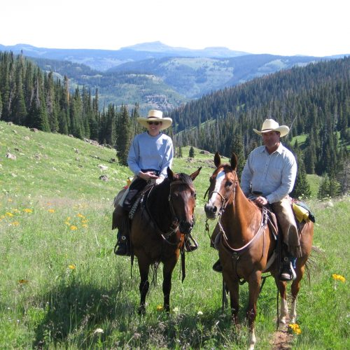 Jim and Jill Cook in Colorado cow horse training